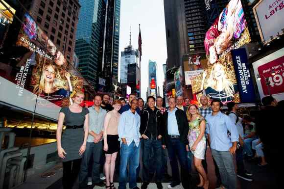 Celebrating with the winners of the About.me Times Square Billboard Contest