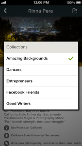 collections modal screenshot