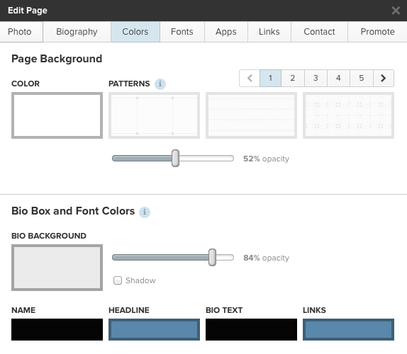 about.me edit panel color picker