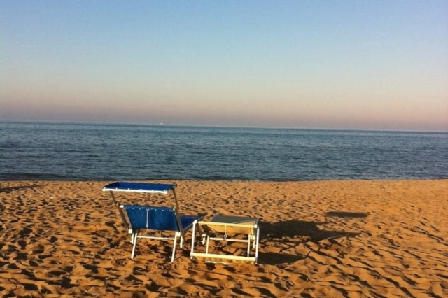 The beach in Rimini, Italy.
