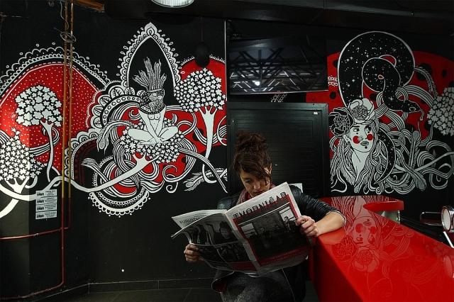 Jadranka with one of her murals