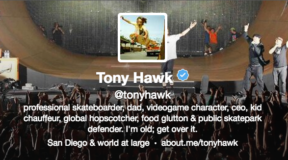 Tony Hawk w about.me on Twitter