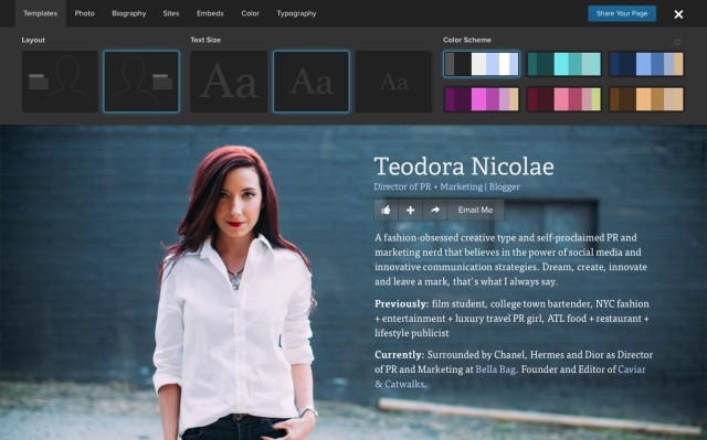 Editing Tools templates on about.me